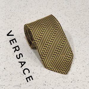 Versace Gold Black Zigzag Monogram Medusa Silk Tie
